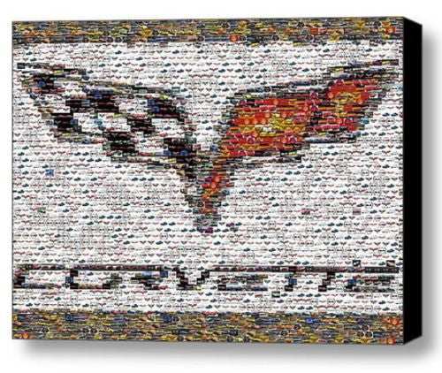 Framed Chevy Corvette logo Mosaic 9X11 inch Limited Edition Art Print w/COA , Chevrolet - n/a, Final Score Products  - 1
