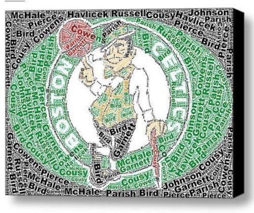 Boston Celtics Greats Mosaic INCREDIBLE Framed 9X11 Limited Edition Art w/COA