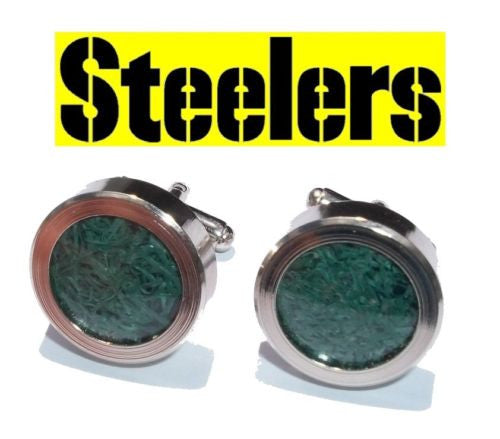 Pittsburgh Steelers Game Used turf Silver Cuff Links Wedding Groomsman Gifts , Football-NFL - n/a, Final Score Products  - 1