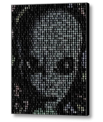 Framed Grey Alien Face Moon Phase Mosaic 9X11 inLimited Edition Art Print w/COA
