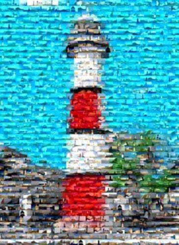 Amazing Beautiful Red Lighthouse Art Print Montage , Other - n/a, Final Score Products  - 1