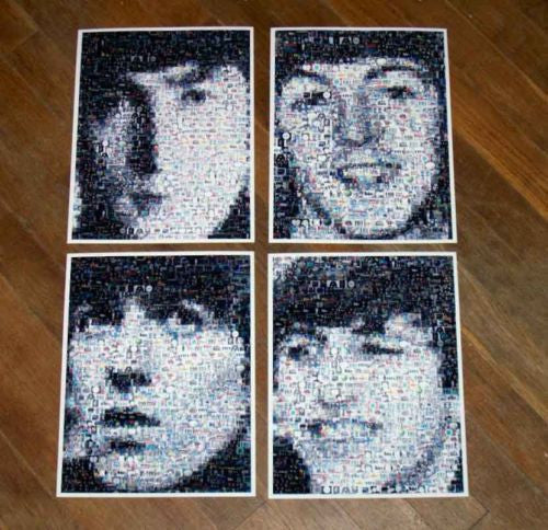 Amazing RARE 1964 set The Beatles face photo Montages