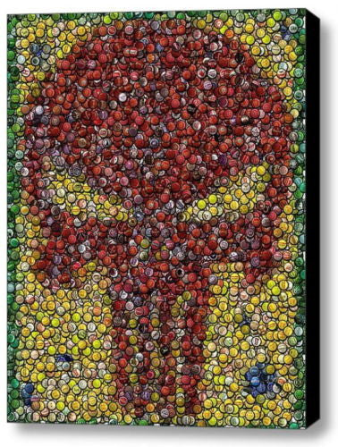 Amazing Framed Punisher Skull Bottlecap mosaic print LIMITED EDITION emblem 9X11