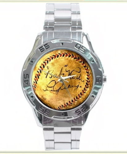metal New York Yankees Babe Ruth Lou Gehrig signed baseball watch with box , Baseball-MLB - n/a, Final Score Products  - 1