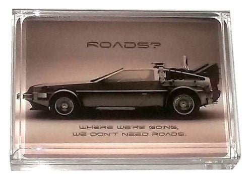 Back To The Future Time Machine Delorean Display Piece Paperweight BONUS: Marty