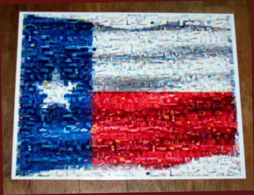 Amazing TEXAS flag State Montage limited edition print