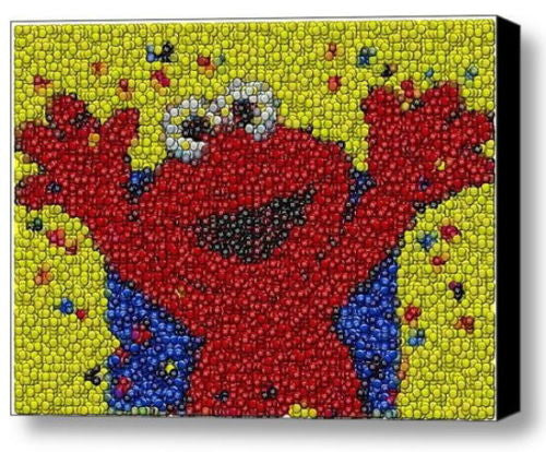 Framed Sesame Street Elmo M&Ms Candy incredible Mosaic Limited Edition Art Print , Other - n/a, Final Score Products  - 1