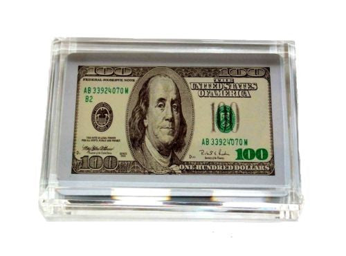 $100 One Hundred Dollar Bill front and back Paperweight , Replicas & Reproductions - n/a, Final Score Products  - 1
