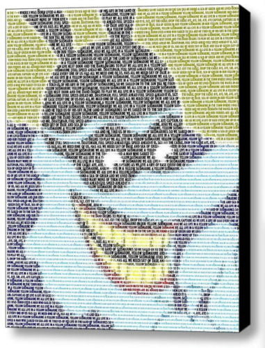 The Beatles Blue Meanie Yellow Submarine Lyrics Mosaic 9X11 Framed Display