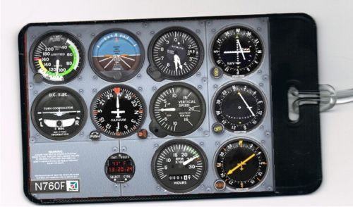 Cessna Airplane Cockpit Control Dials Panel Luggage or Book Bag Tag
