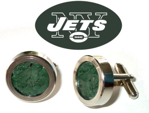 NY New York Jets Game Used Turf Silver Tone Cuff Links Wedding Groomsman Gifts , Other - n/a, Final Score Products  - 1
