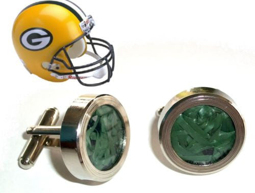 Green Bay Packers Super Bowl Game Used Turf Silver Cuff Links , Football-NFL - n/a, Final Score Products  - 1