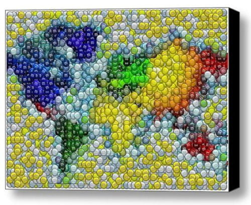 Framed M&Ms colorful World Map Candy incredible Mosaic candies