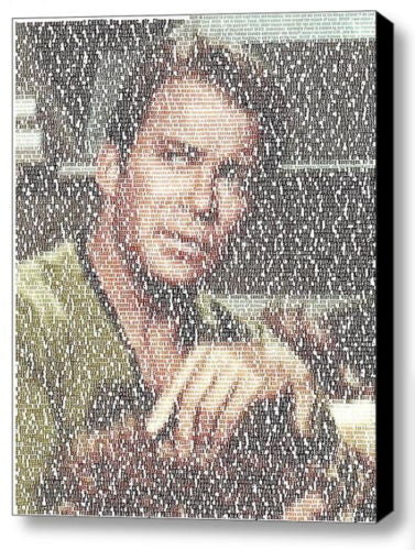 Star Trek Kirk The Trouble With Tribbles Script Mosaic INCREDIBLE Framed 9X11 , Reproductions - n/a, Final Score Products  - 1