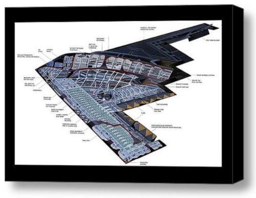 Framed Stealth Bomber Fighter War Plane 9X11 Inch Schematics Diagram Plans , Reproductions - n/a, Final Score Products  - 1