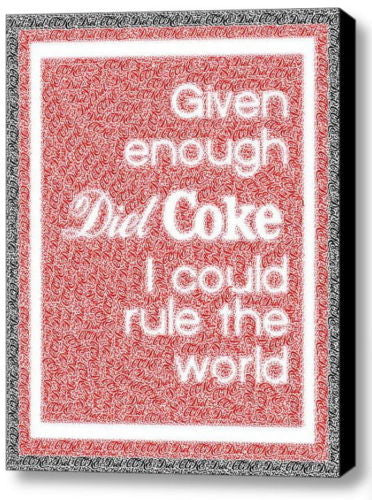 fun Diet Coke Rule The World Mosaic Framed 9X11 Limited Edition Art w/COA