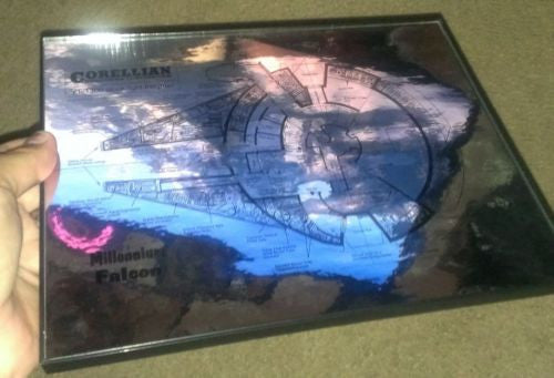Framed spec plate chrome metal plans to Star Wars Millennium Falcon Han Solo , Vehicles - n/a, Final Score Products  - 1