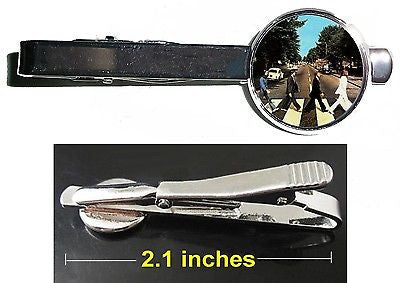 The Beatles Abbey Road Album Tie Clip Clasp Bar Slide Silver Metal Shiny