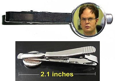 The Office TV show Dwight Schrute Tie Clip Clasp Bar Slide Silver Metal Shiny