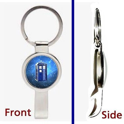 Doctor Dr. Who Tardis Pennant or Keychain silver tone secret bottle opener