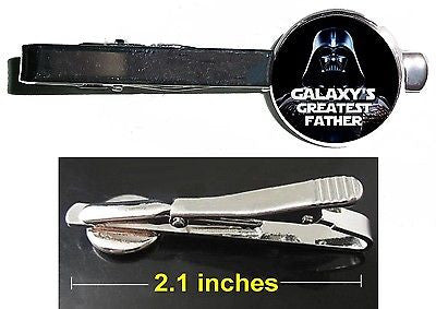 Star Wars Darth Vader Galaxy's Greatest Best Father Dad Tie Clip Clasp Bar Slide