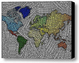 Peace Love Happines World Map Mosaic INCREDIBLE Framed 9X11 inch Limited Edition , World - n/a, Final Score Products