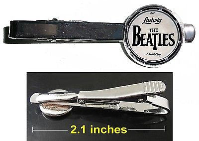 The Beatkes Ludwig Drum Kit logo Tie Clip Clasp Bar Slide Silver Metal Shiny , Novelties - n/a, Final Score Products
