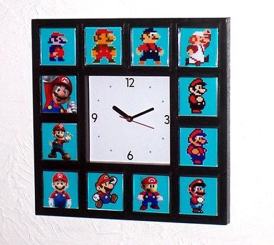 Super History of Nintendo MARIO Clock with 12 images