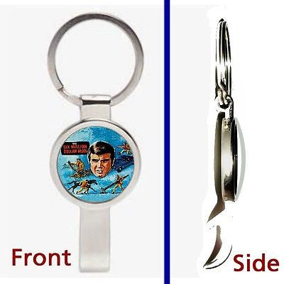 6 Six Million Dollar Man Pennant or Keychain silver tone secret bottle opener