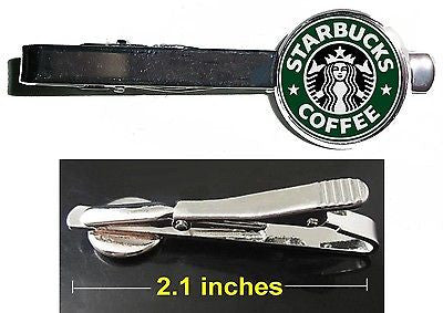 Starbucks Coffee Tie Clip Clasp Bar Slide Silver Metal Shiny
