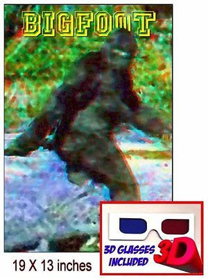 only Bigfoot Yeti Sasquatch 19 X 13  3D Limited Edition Art Print with glasses