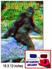 only Bigfoot Yeti Sasquatch 19 X 13  3D Limited Edition Art Print with glasses , Other - n/a, Final Score Products