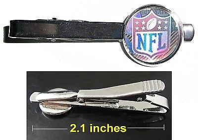 NFL football Hologram Tie Clip Clasp Bar Slide Silver Metal Shiny , Football-NFL - n/a, Final Score Products