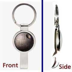 Star Wars Death Star Pennant or Keychain silver tone secret bottle opener , Lightsabers, Weapons - n/a, Final Score Products