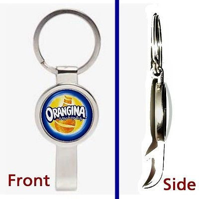 Organgina Fruit Juice Pennant or Keychain silver tone secret bottle opener