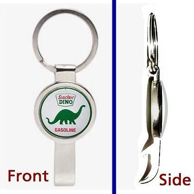 Sinclair Gas & Oil Dino Pennant or Keychain silver tone secret bottle opener , Sinclair - Sinclair, Final Score Products