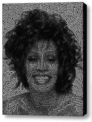 Abstract Whitney Houston Word Mosaic INCREDIBLE Framed 9X11 Limited Edition