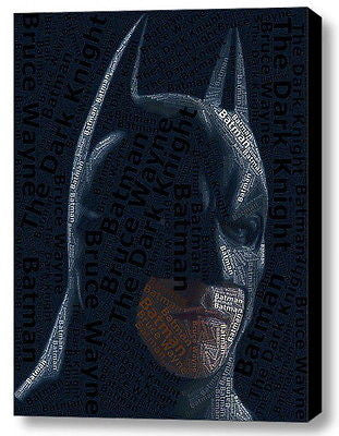 Batman Dark Knight Word Mosaic INCREDIBLE Framed 9X11 Limited Edition Art w/COA