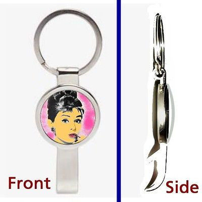 Breakfast at Tiffany's Audrey Hepburn Pennant or Keychain secret bottle opener , Keyrings - n/a, Final Score Products