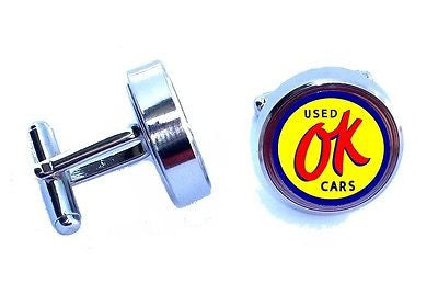 retro OK Used Cars sign Cuff Links silver stainless steel wedding Groomsmen Gift