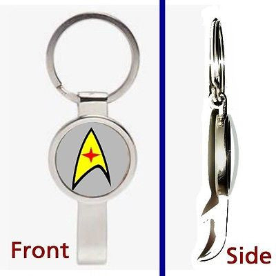 Star Trek gray Medical Pennant or Keychain silver tone secret bottle opener