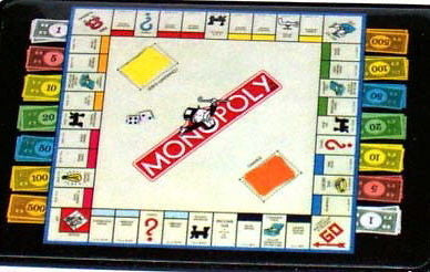 Official Monopoly Game Board with money Fridge Magnet big 2.5 X 3.5 inches , 1990-Now - n/a, Final Score Products