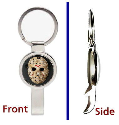 Friday the 13th Jason Voorhees Mask Pendant Keychain silver secret bottle opener , Keyrings - n/a, Final Score Products