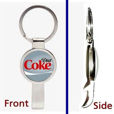 Diet Cike Pendant or Keychain silver tone secret bottle opener