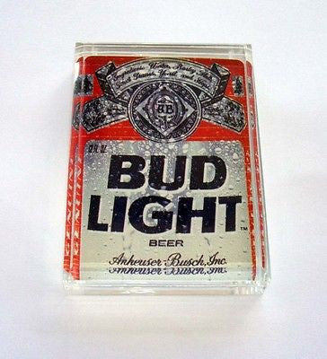 Acrylic retro Bud Light Beer Executive Desk Top Paperweight