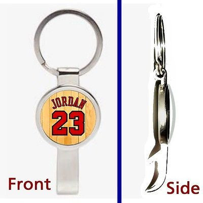 Michael Jordan Jersey Pennant or Keychain silver tone secret bottle opener , Basketball-NBA - n/a, Final Score Products