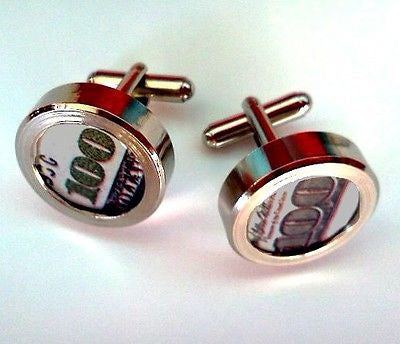 $100 Dollar Bill Money Cuff Links silver stainless steel wedding Groomsmen Gift