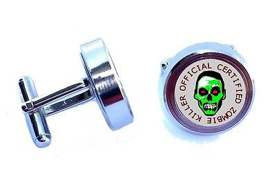Zombie Killer Cuff Links silver stainless steel wedding Groomsmen Gift