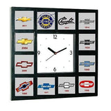 History of Chevrolet Chevy Bowtie Garage Man Cave Office Clock with 12 pictures , Chevrolet - n/a, Final Score Products