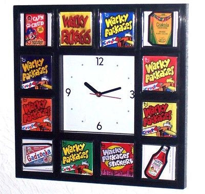 Cool Wacky Packages Clock with 8 classic wrapper and 4 sticker images